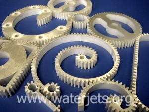 "picture of waterjet machined gears in 1/2"" aluminum"