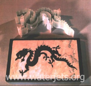 [picture dragon artwork machined with an abrasive waterjet]