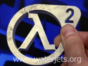"Half Life 2 ""lamda"" logo machined from 1/2"" (12mm) aluminum."