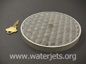 Honeycomb machined with an abrasive waterjet