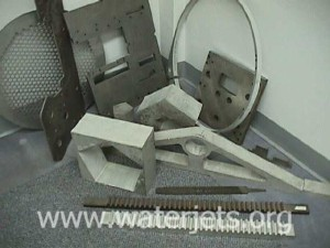 Various thick parts machined with an abrasive jet