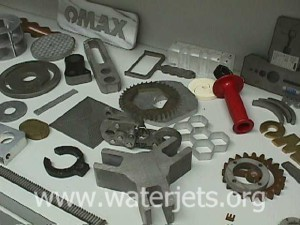 Various parts machined with an abrasive jet