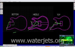 Guitar drawings in OMAX Layout (waterjet CAD/CAM system)