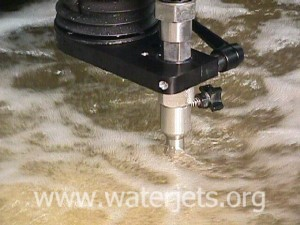 Waterjet nozzle in action